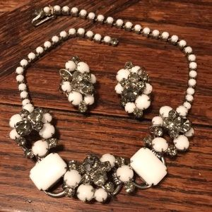 Juliana White & grey glass necklace & earring set
